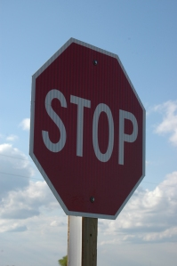 Stop sign at Safe Haven Farm - Haven, KS