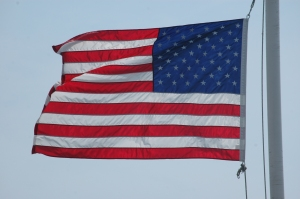 American flag on the Galveston ferry - Galveston, TX