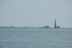 Lighthouse on Bolivar Island from Galveston Ferry - Galveston, TX