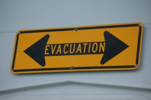 Sign on the Galveston Ferry, crossing between Galveston Beach and Jamaica Beach - Texas