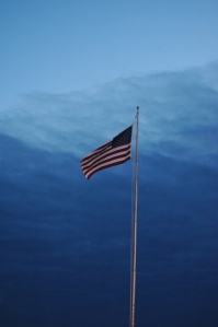US flag against a storm front - Hutchinson, KS