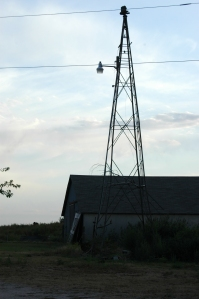 Windmill tower serving as a yard light at Safe Haven Farm, Haven, KS