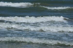 Waves crashing on Jamaica Beach, Galveston, TX
