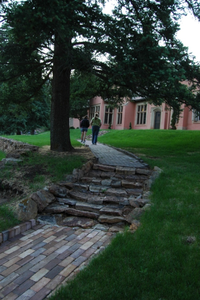 Stone path by the Pink House at Glen Eyrie, Colorado Springs, CO