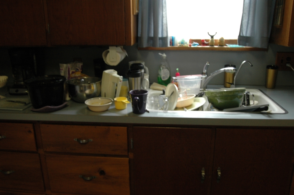 Dirty dishes in the kitchen of Safe Haven Farm, Haven, KS