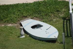 Boat in a yard on Jamaica Beach, Galveston, TX