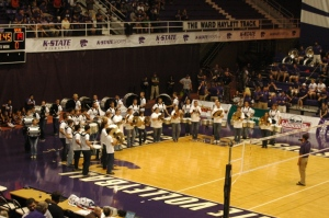 Marching band at K-State during a volleyball game, Manhatten, KS
