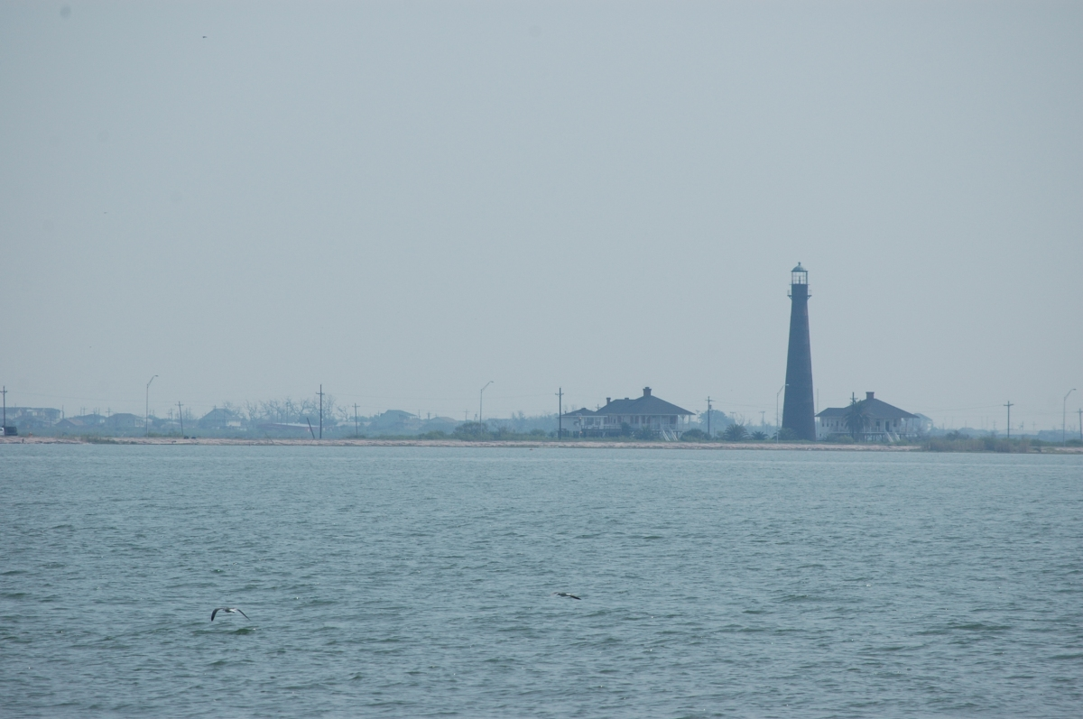 Bolivar Island lighthouse from the Galveston Ferry, Galveston, TX