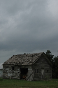 Dark skies above the old school house at Safe Haven Farm, Haven, KS