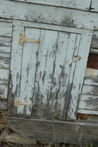 Door on the school house at Safe Haven Farm, Haven, KS