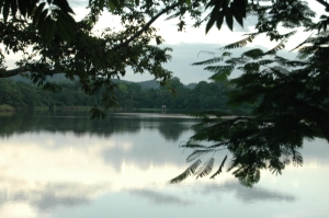 Lake view from a Guatemalan restaurant, Peten, Guatemala