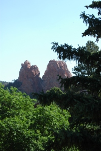 Red rock peaks from the Glen Eyrie Castle, Colorado Springs, CO