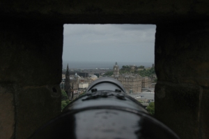 The view from behind a cannon in Edinburgh Castle, Scotland