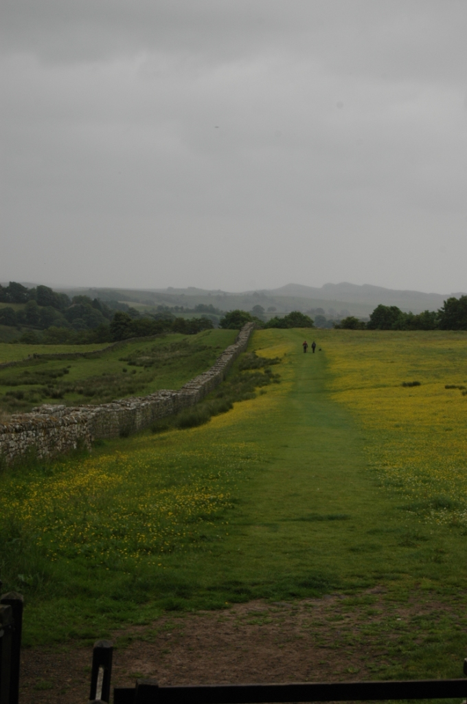 The old Roman road next to the remains of Hadrian's Wall, Northern England