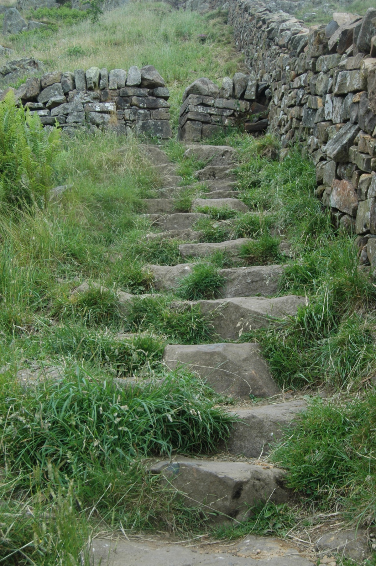 Stone steps along Hadrian's Wall, Northern England