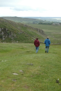 My brother and our guide Torleif walking along Hadrian's Wall, Northern England