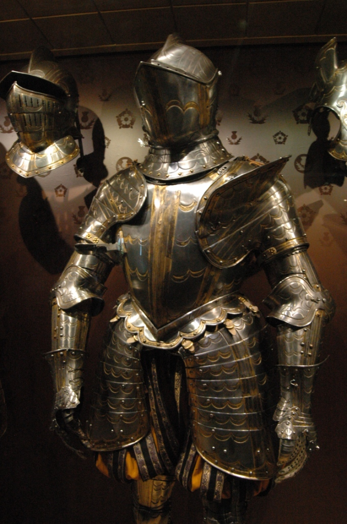 Medieval armor on display in the White Tower of the Tower of London, London, England