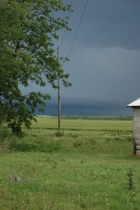 Storms rolling into Reno County at Safe Haven Farm, Haven, KS