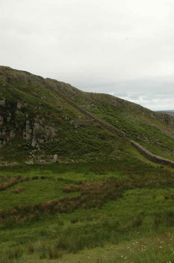 A very steep section of Hadrian's Wall, Northern England