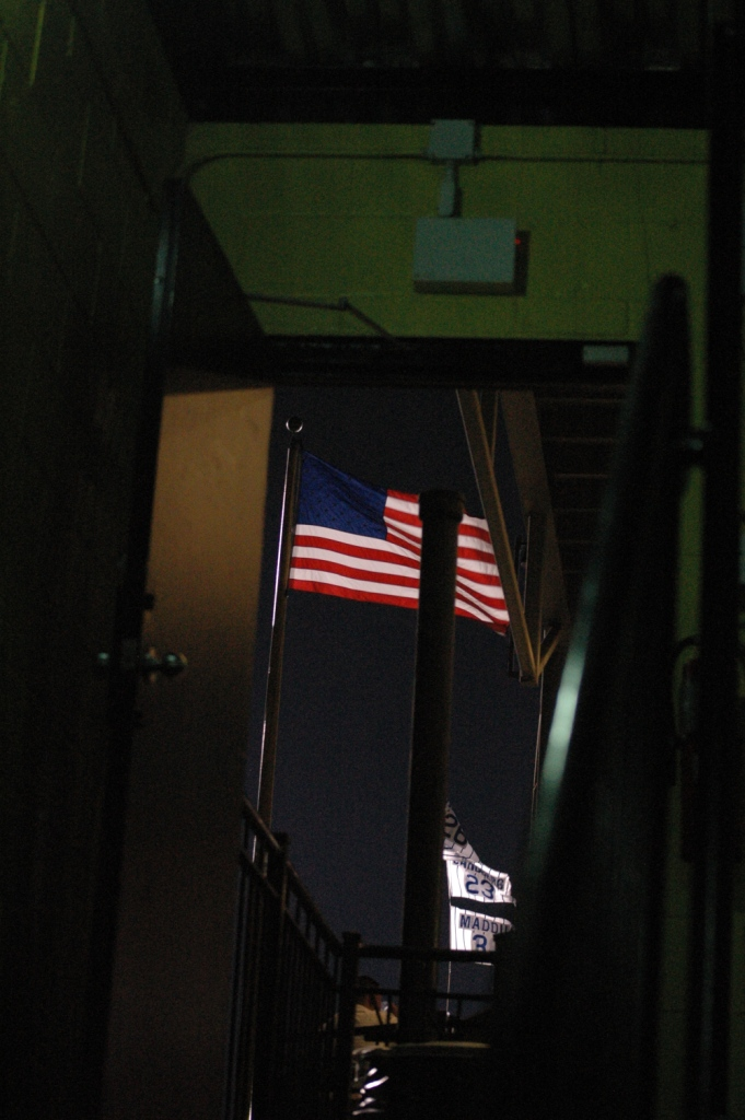 American flag flying on a skybox overlooking Wrigley Field, Chicago, IL