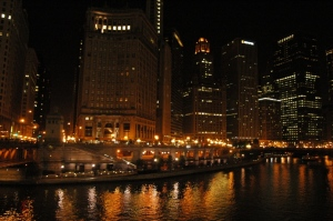 Downtown Chicago at night, Chicago, IL