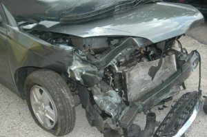 My 2005 Malibu after my very first wreck, Wichita, KS -- 2008