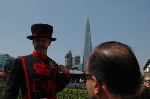"Barney the Beefeater, our ""ambassador"" at the Tower of London, London, England"