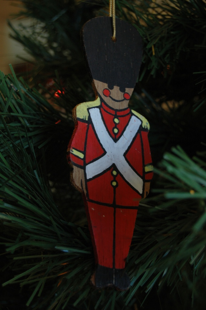 Hand-painted wooden ornament on my tree, Haven, KS