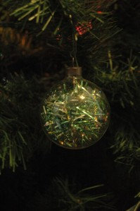 Old glass Christmas orb full of shredded garland, Haven, KS