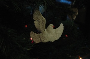 One dove ornament from a matched set hanging on my tree, Haven, KS