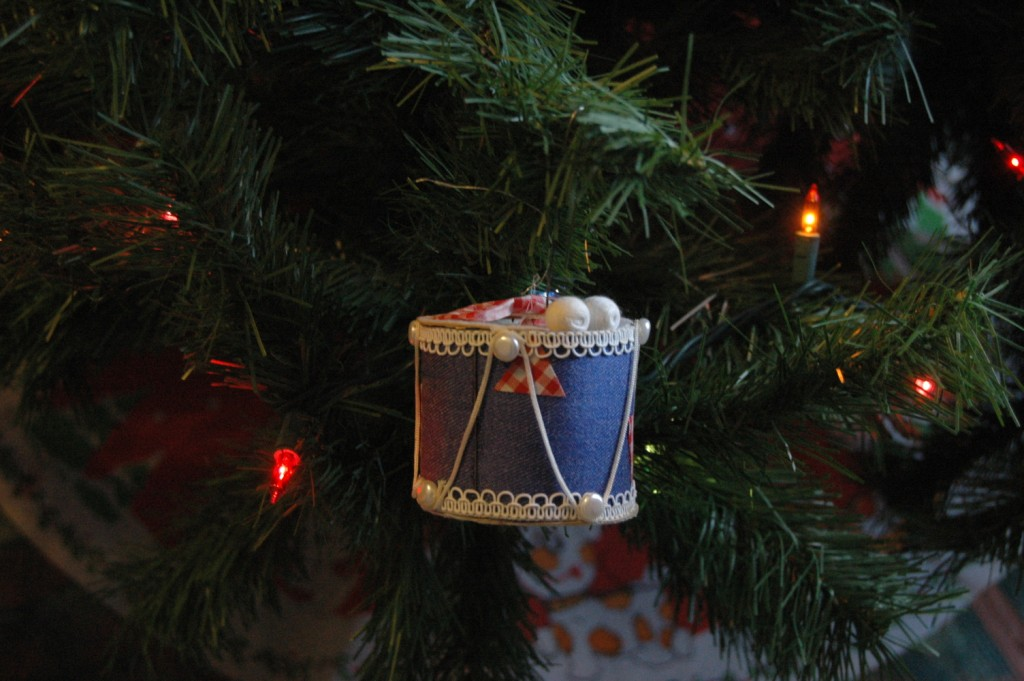 Drum ornament hanging on the Christmas tree, Haven, KS