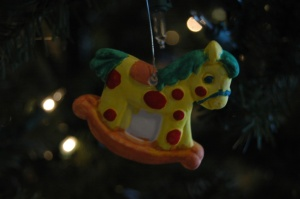 Painted plaster rocking horse ornament, Haven, KS