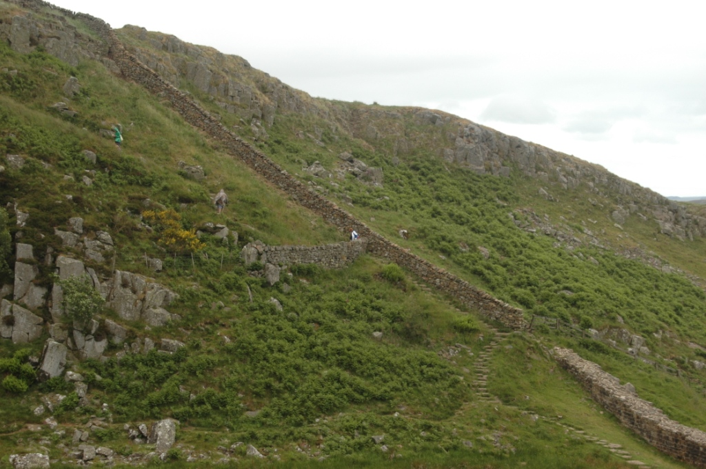A steep section of Hadrian's Wall, Northern England