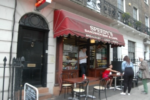 Speedy's Café at 187 N. Gower (more popularly known as 221B Baker Street in BBC's Sherlock), London, England
