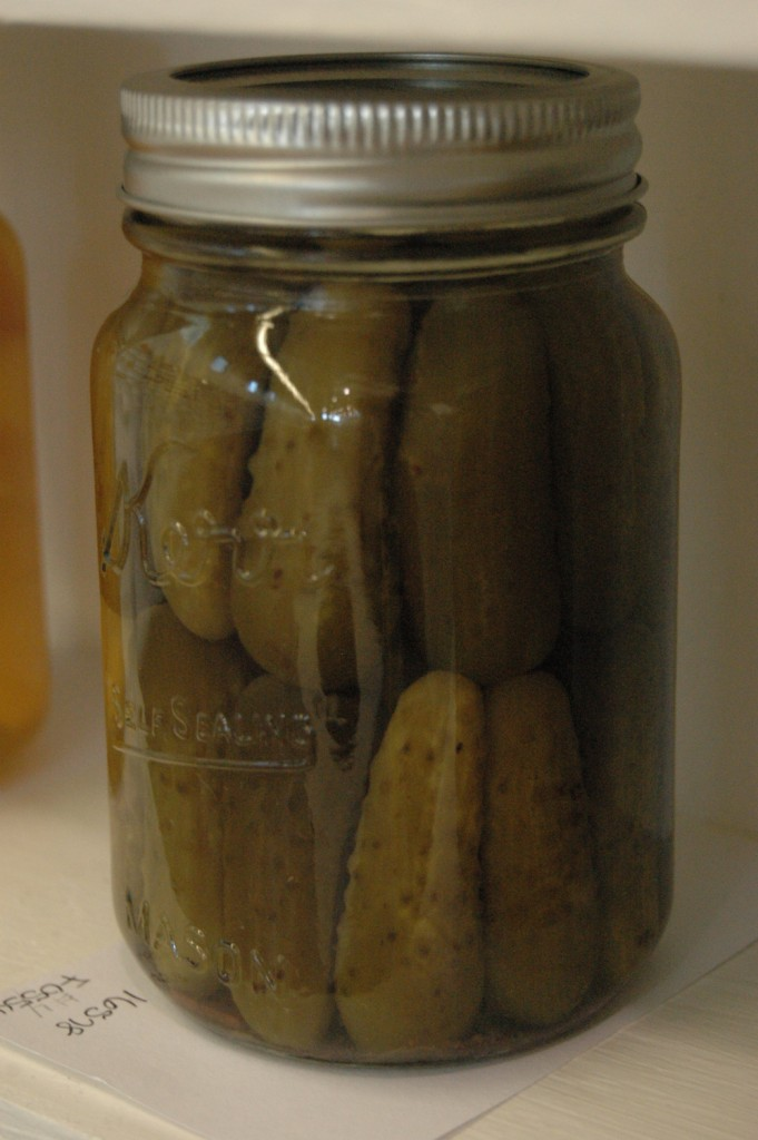 Beautiful jar of canned pickles at the Kansas State Fair, Hutchinson, KS