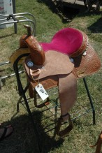 A pink saddle at the Sedgwick County Fair, Hutchinson, KS