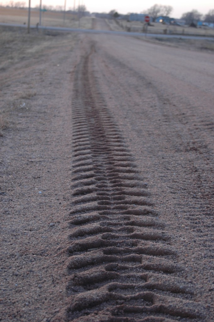 Tractor tracks on Pleasant Valley Road, Haven, KS