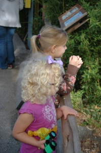 Two little girls at the Sedgwick County Zoo, Wichita, KS