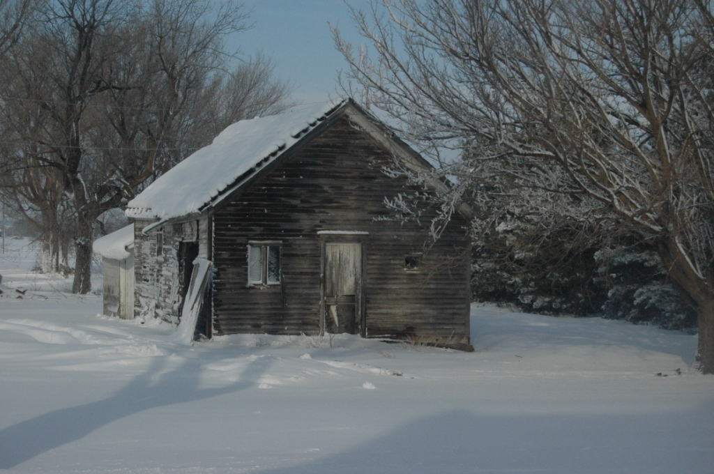 The old school house at Safe Haven Farm covered in snow, Haven, KS