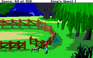 Screenshot from King's Quest (copyright Sierra Games 1987)