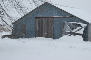 The barn at Safe Haven Farm in the snow, Haven, KS