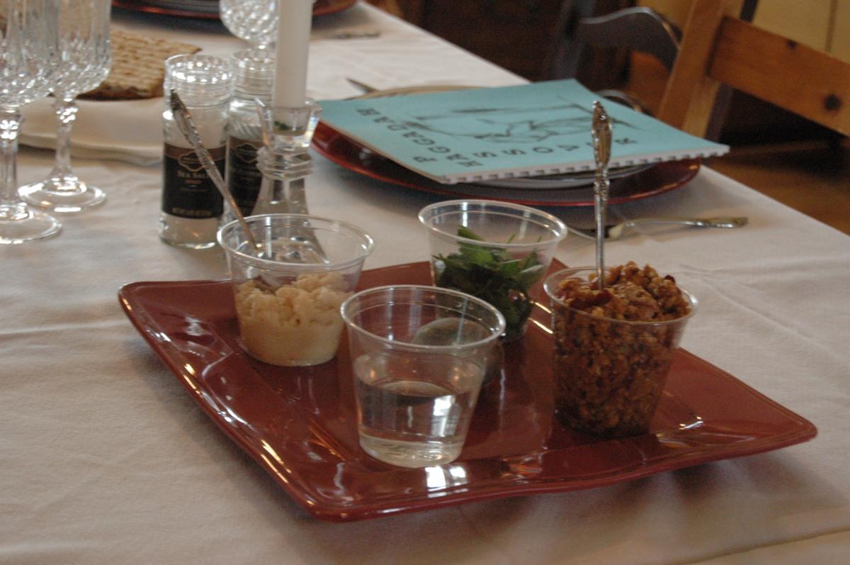 Elements for the Seder meal (parsley, horseradish, salt water, and charoset), Wichita, KS