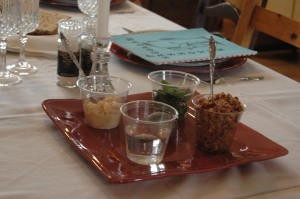Elements for the Seder meal (parsley, horseradish, salt water, and charoses), Wichita, KS