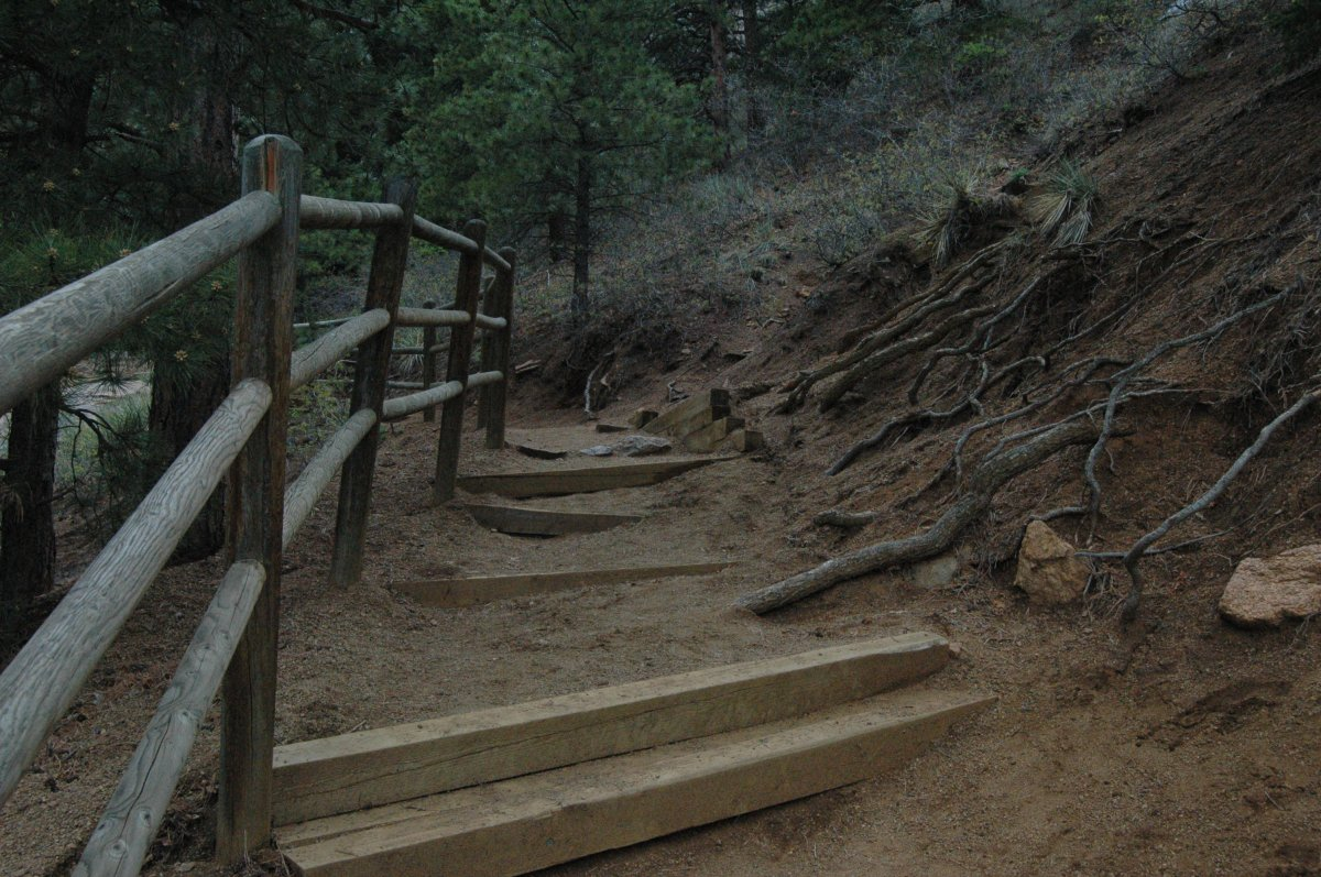 The crooked path to the top of Helen Hunt Falls, Colorado Springs, CO