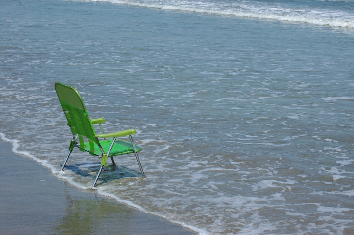Lonely chair on Jamaica Beach, Galveston, TX