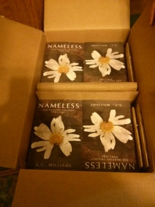 51 copies of my debut novel, Nameless, on the day they arrived at my door