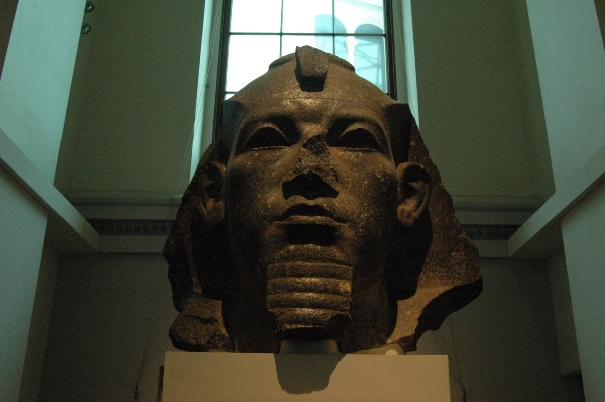 Egyptian statue's head at the British Museum, London, England, UK
