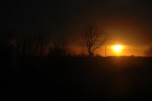 Sun setting at Safe Haven Farm, Haven, KS