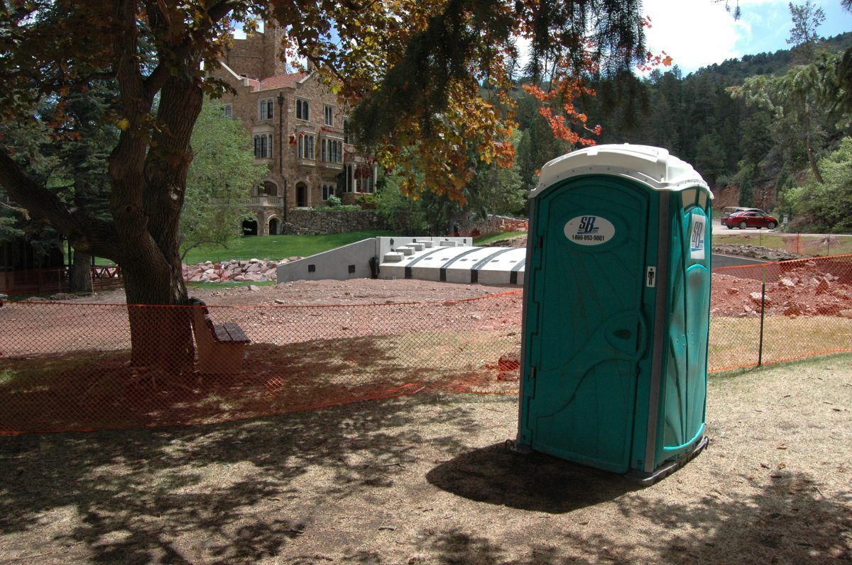 A portable toilet outside Glen Eyrie Castle, Colorado Springs, CO