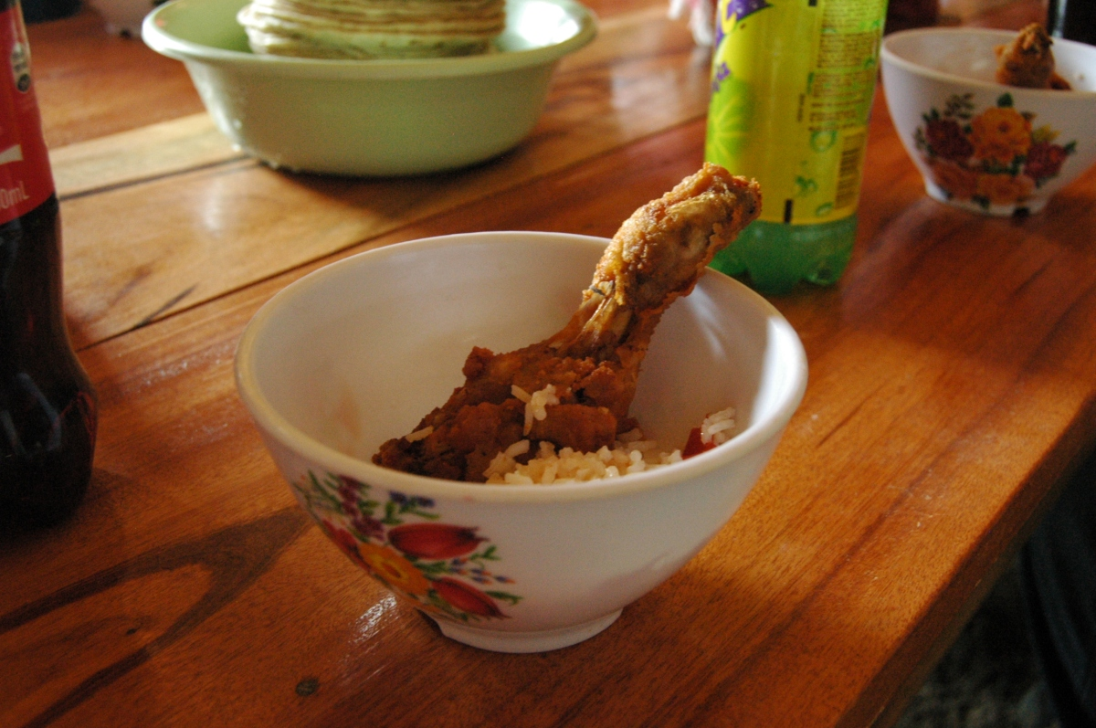 Awesome fried chicken given to me for lunch, San Miguel, Peten, Guatemala